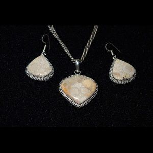 Fossil Coral Pendant & Earrings Set